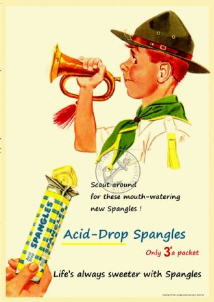 Spangles Acid Drops Scout Sweet Advert Poster